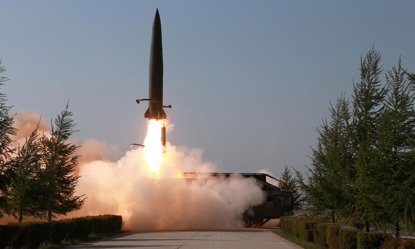Triều Tiên phóng thử tên lửa đạn đạo hồi tháng 5/2019. Ảnh: KCNA.