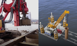 Dùng sà lan nghìn tấn thi công 4 trụ cầu giữa sông Hồng