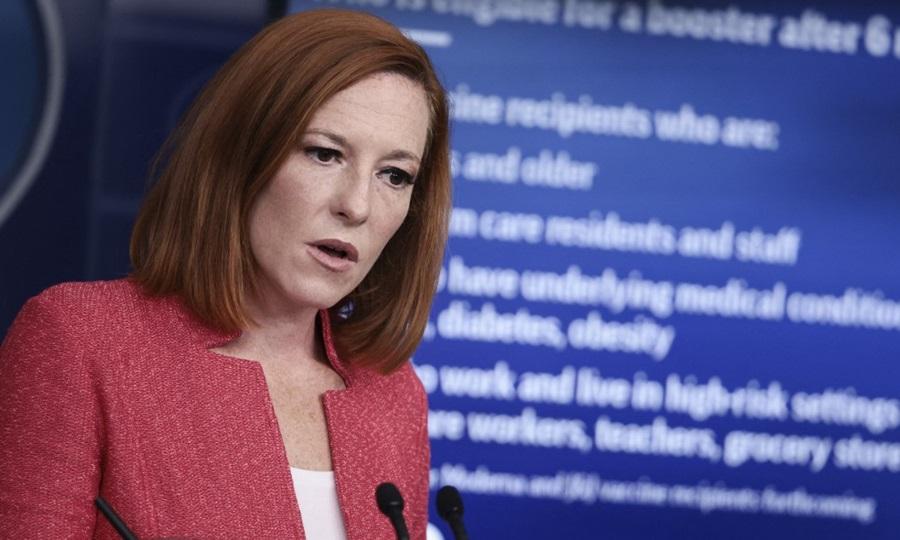 Thư ký báo chí Nhà Trắng Jen Psaki tại cuộc họp báo hôm 27/9. Ảnh: AFP.