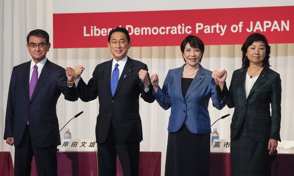 (Từ trái qua phải) Các ứng viên lãnh đạo đảng Dân chủ Tự do Nhật Taro Kono, Fumio Kishida, Sanae Takaichi và Seiko Noda trong cuộc họp báo ở Tokyo hôm nay. Ảnh: AFP.