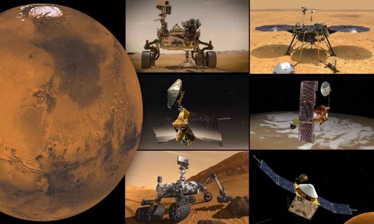 Các robot và tàu vũ trụ hoạt động trên sao Hỏa của NASA. Ảnh: NASA