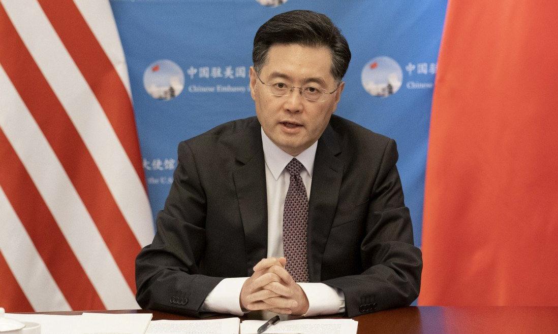 Đại sứ Trung Quốc tại Mỹ Tần Cương tại một cuộc họp trực tuyến ở Washington hôm 13/9. Ảnh: Xinhua.