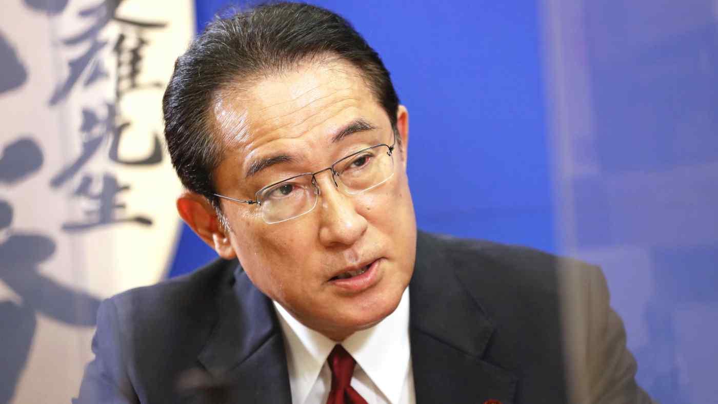 Cựu ngoại trưởng Nhật Bản Fumio Kishida trả lời phỏng vấn hôm 2/9. Ảnh: Nikkei.