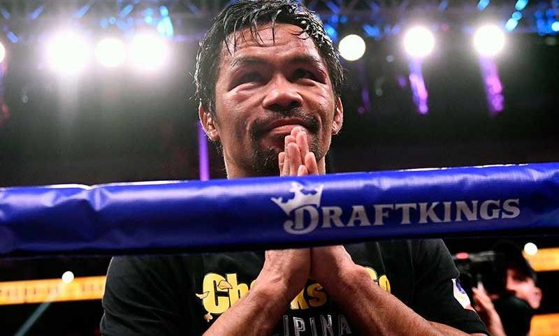 Manny Pacquiao trong trận đấu quyền anh tại Las Vegas, bang Nevada, Mỹ hôm 21/8. Ảnh: AFP.