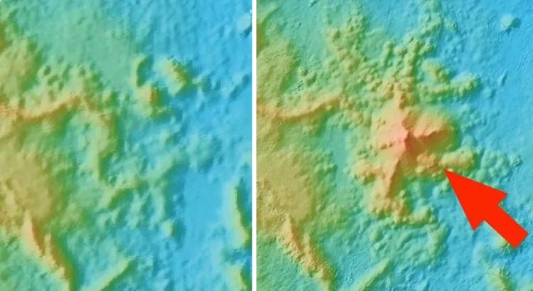 Bản đồ độ cao năm 2014 (trái) và năm 2019 (phải) cho thấy sự xuất hiện của núi lửa mới gần đảo Mayotte. Ảnh: Nature Geoscience