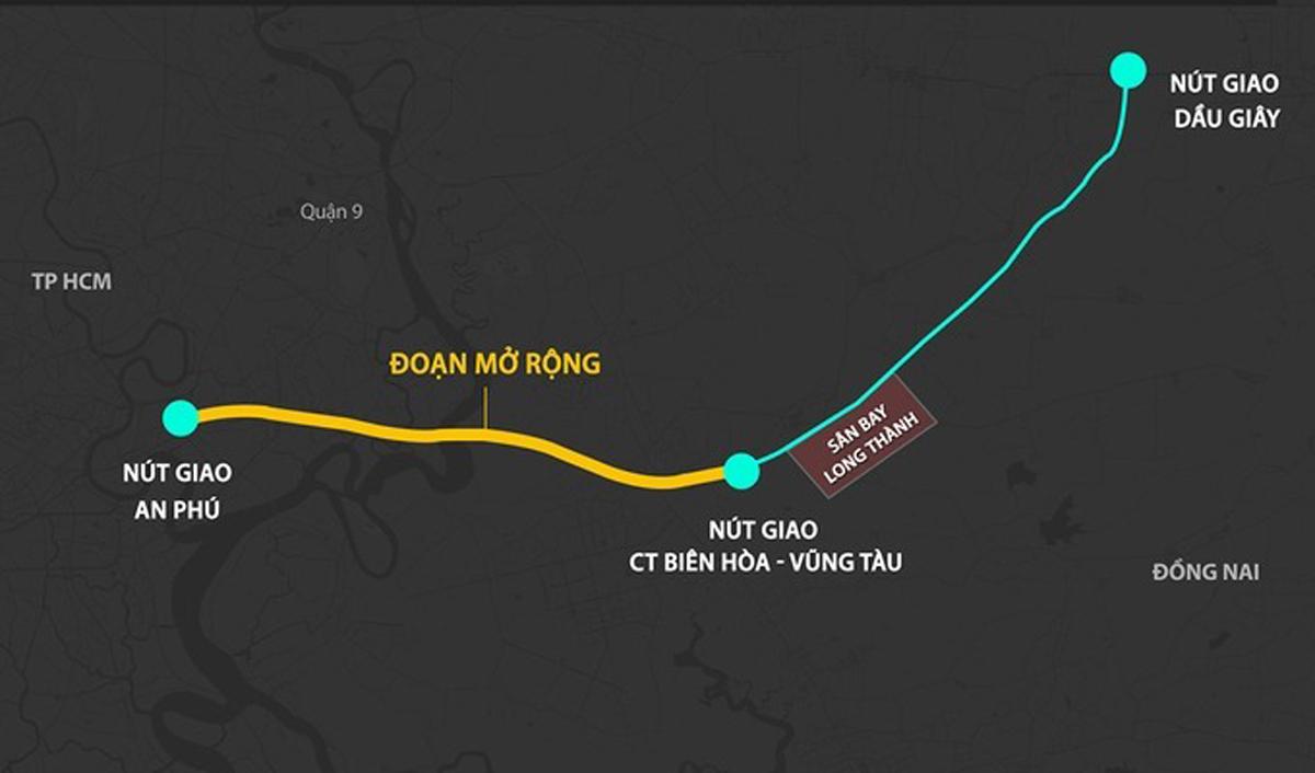 Phương án mở rộng cao tốc TP HCM - Long Thành - Dầu Giây. Đồ họa: Thanh Huyền