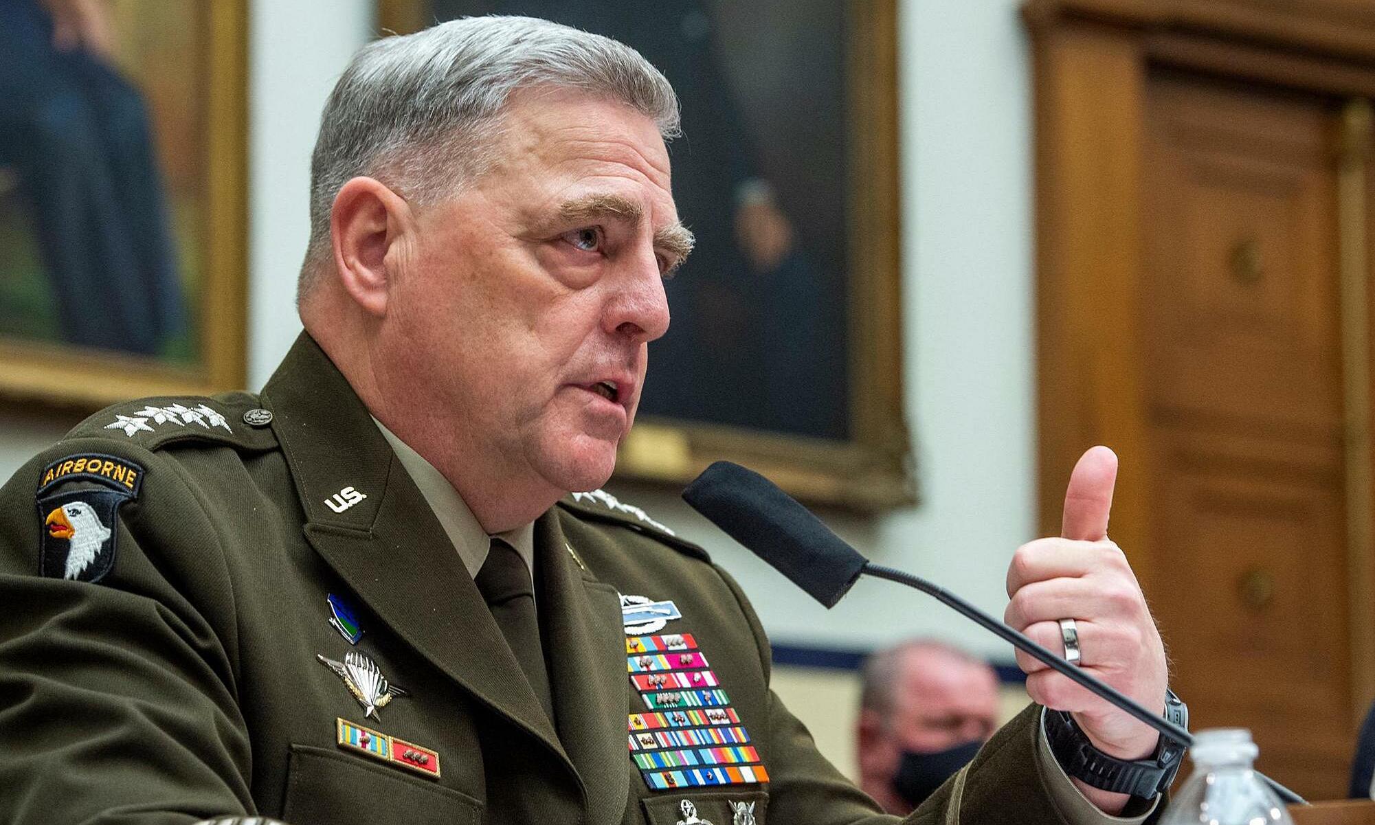 Tướng Mark Milley, Chủ tịch Hội đồng Tham mưu trưởng Liên quân Mỹ, trả lời điều trần tại Ủy ban Quân vụ Hạ viện vào ngày 29/9. Ảnh: Reuters.