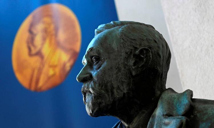 Tượng của Alfred Nobel, nhà phát minh kiêm doanh nhân Thụy Điển. Ảnh: AFP