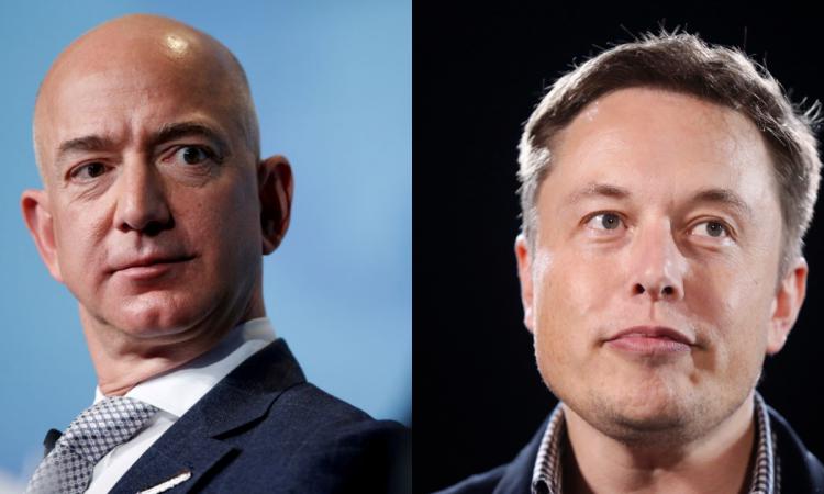 Tỷ phú Jeff Bezos (trái) và Elon Musk. Ảnh: Reuters.