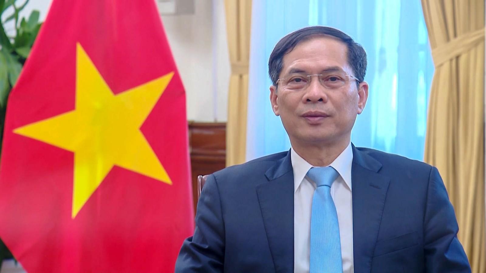 Bộ trưởng Ngoại giao Bùi Thanh Sơn phát biểu trực tuyến tại Hội nghị Liên Hợp Quốc về Thương mại và Phát triển (UNCTAD) lần thứ 15 hôm nay. Ảnh: BNG.