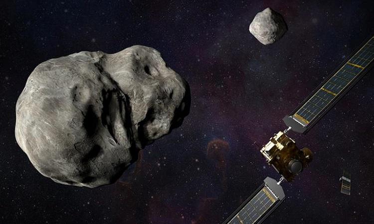Mô phỏng tàu DART và vệ tinh LICIACube tiếp cận hệ tiểu hành tinh trước vụ va chạm. Ảnh: NASA
