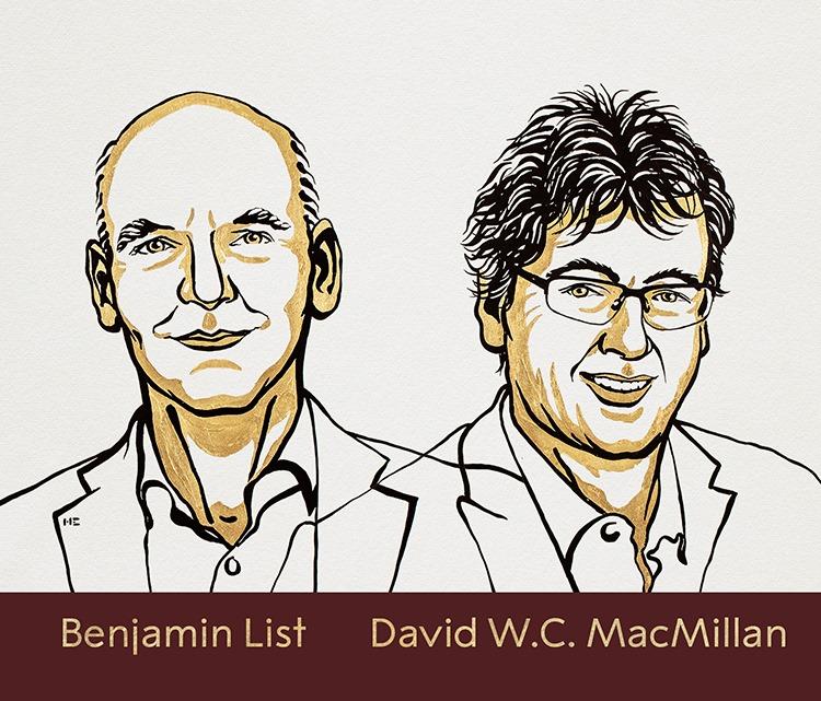 Hai nhà khoa học chủ nhân giải thưởng Nobel Hóa học 2021. Ảnh: RSAS