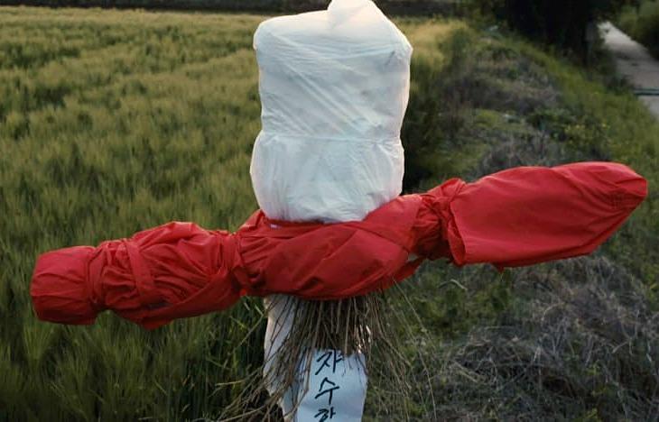 Bù nhìn bằng vải đỏ được dân địa phương dựng giữa cánh đồng Hwaseong để xua kẻ giết người. Ảnh: CNA