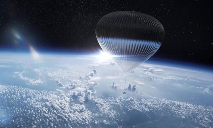 Khinh khí cầu mang theo khoang tàu chở khách lên tầng bình lưu. Ảnh: World View Enterprises
