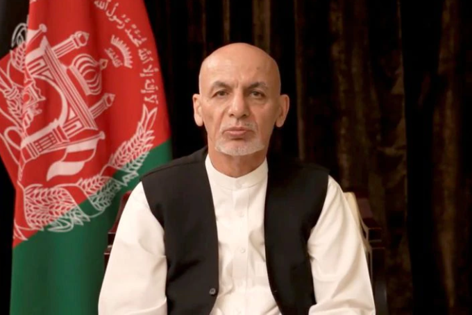 Tổng thống Afghanistan Ashraf Ghani phát biểu từ UAE hôm 18/8. Ảnh: Reuters.