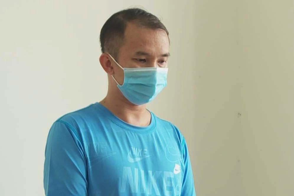Nguyễn Thanh Hải tại cơ quan công an. Ảnh: Ngọc Oanh