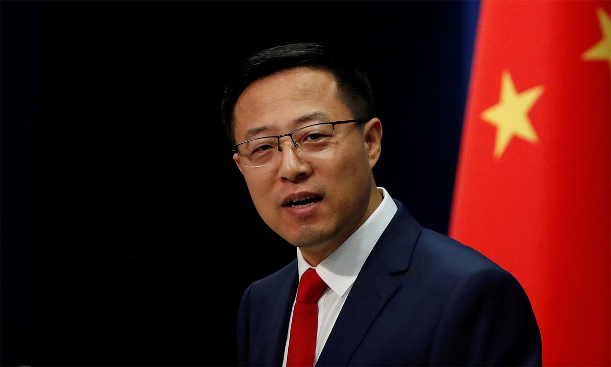 Phát ngôn viên Bộ Ngoại giao Trung Quốc Triệu Lập Kiên trong buổi họp báo tại Bắc Kinh tháng 9/2020. Ảnh: Reuters.