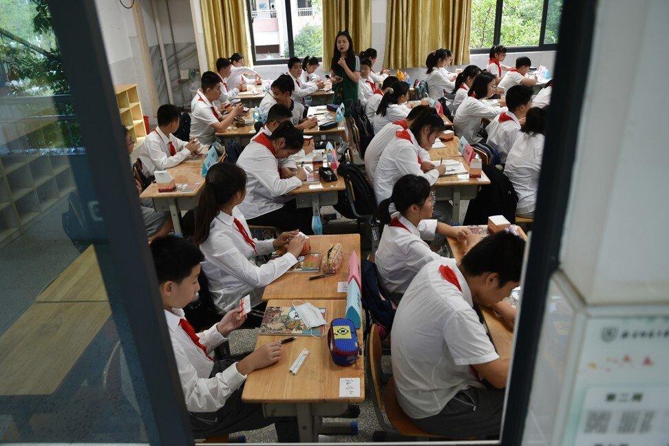 Học sinh tại Nam Kinh, tỉnh Giang Tô, miền Đông Trung Quốc, tháng 9/2021. Ảnh: Getty Image