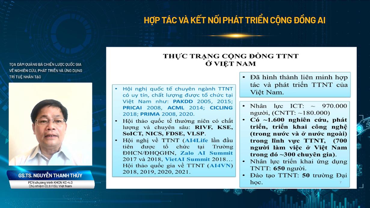 GS.TS Nguyễn Thanh Thủy chia sẻ về thực trạng cộng đồng AI ở Việt Nam.