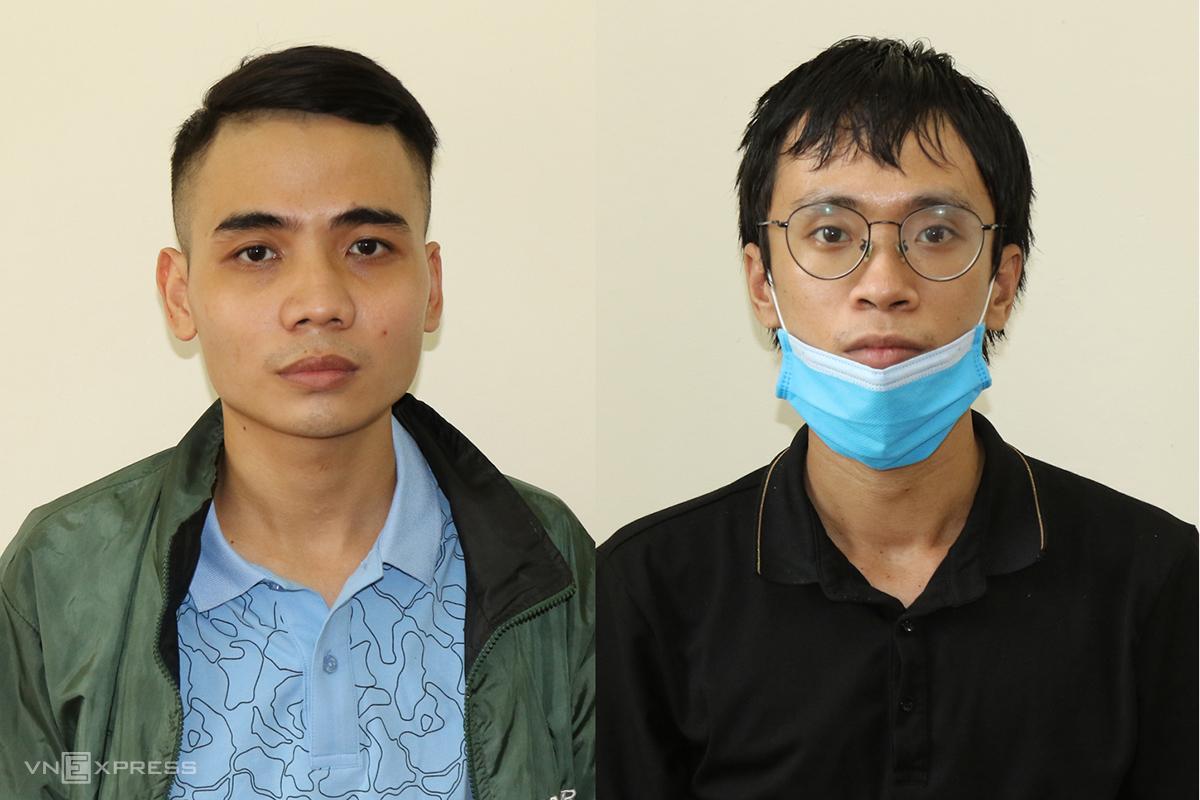 Ngọc (trái) và Quý tại cơ quan điều tra. Ảnh: Quang Văn