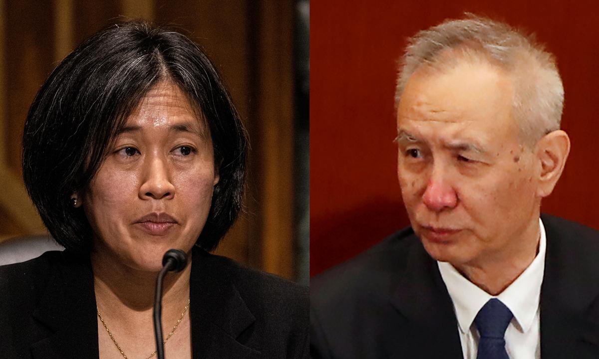 Đại diện Thương mại Mỹ Katherine Tai (trái) và Phó thủ tướng Trung Quốc Lưu Hạc. Ảnh: Reuters.
