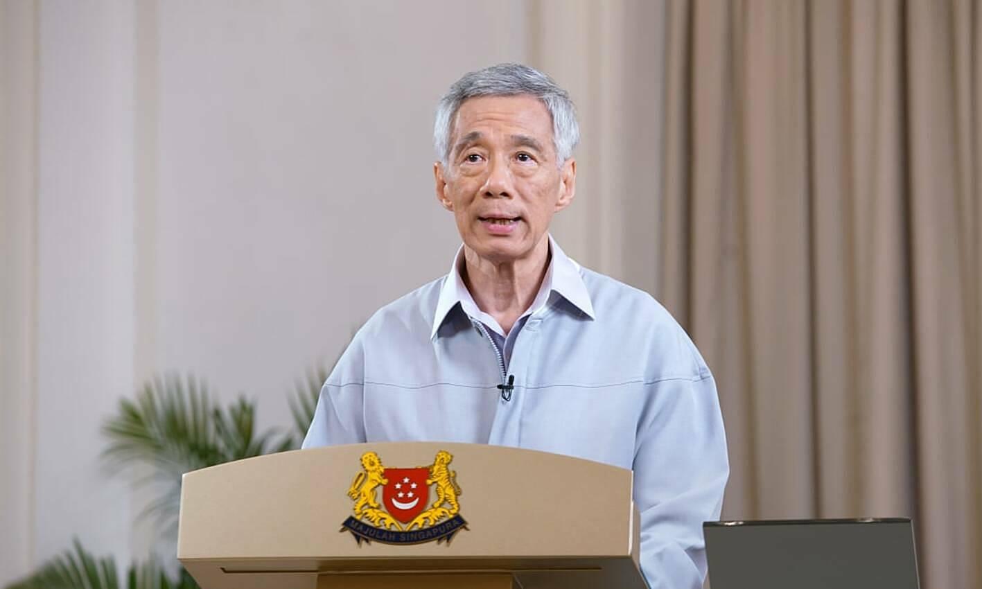 Thủ tướng Singapore Lý Hiển Long thông tin đến người dân đảo quốc về tình hình Covid-19 và chiến lực ứng phó ngày 9/10. Ảnh: Bộ Truyền thông và Thông tin Singapore.