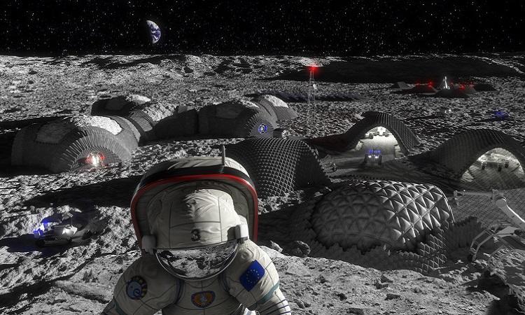 Mô phỏng khu định cư in 3D trên Mặt Trăng. Ảnh: ESA