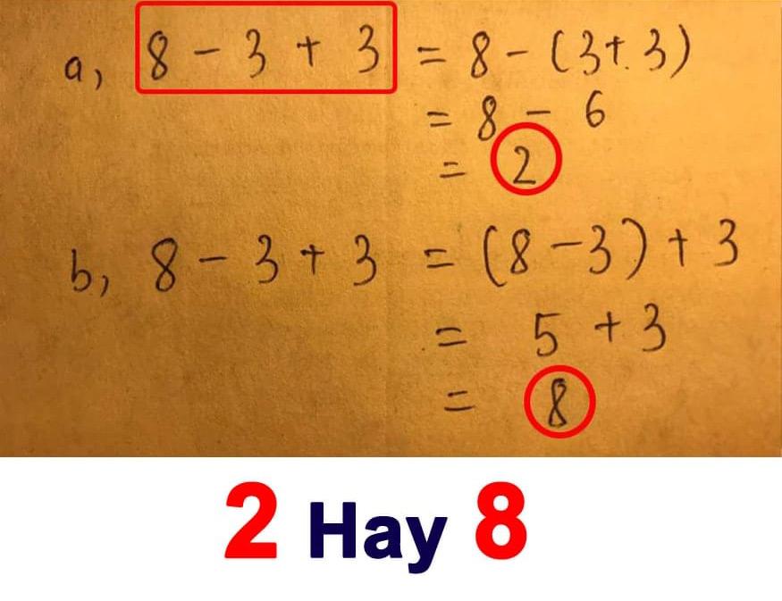 Kết quả phép tính bằng 2 hay 8?