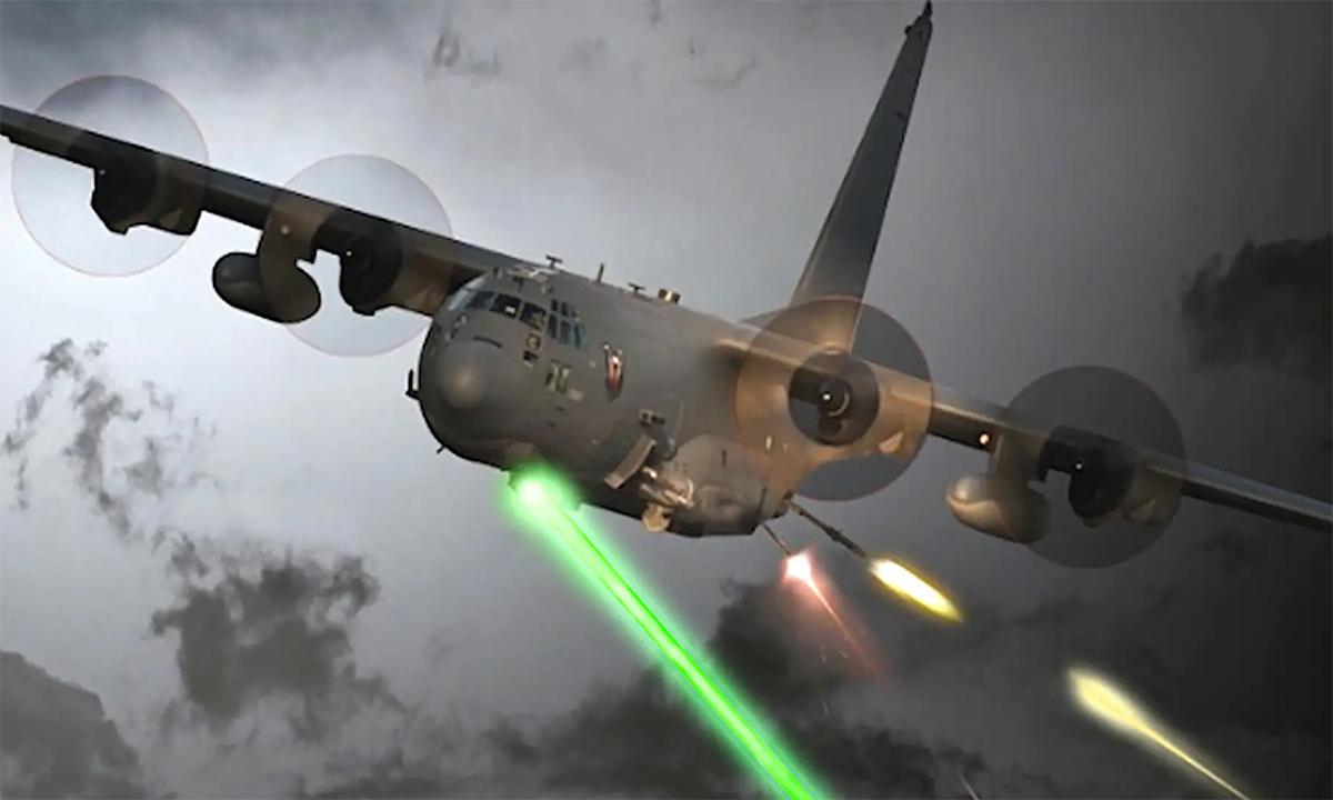 Mô phỏng AC-130J dùng vũ khỉ laser và thông thường tấn công mục tiêu. Đồ họa: USAF.