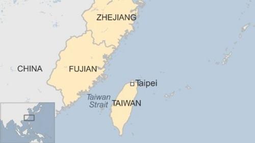 Vị trí bờ biển ngoài khơi hai tỉnh Chiết Giang và Phúc Kiến, đông nam Trung Quốc và eo biển Đài Loan. Đồ họa: BBC.