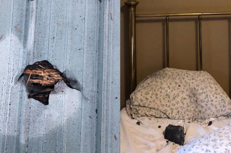Lỗ thủng trên mái nhà và mảnh thiên thạch rơi xuống giường của Ruth Hamilton. Ảnh: Ruth Hamilton