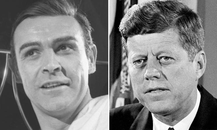 James Bond do Sean Connery thủ vai trong bộ phim Thunderball chiếu năm 1965 (trái) và cố tổng thống Mỹ John F. Kennedy tại Nhà Trắng năm 1963. Ảnh: AP.
