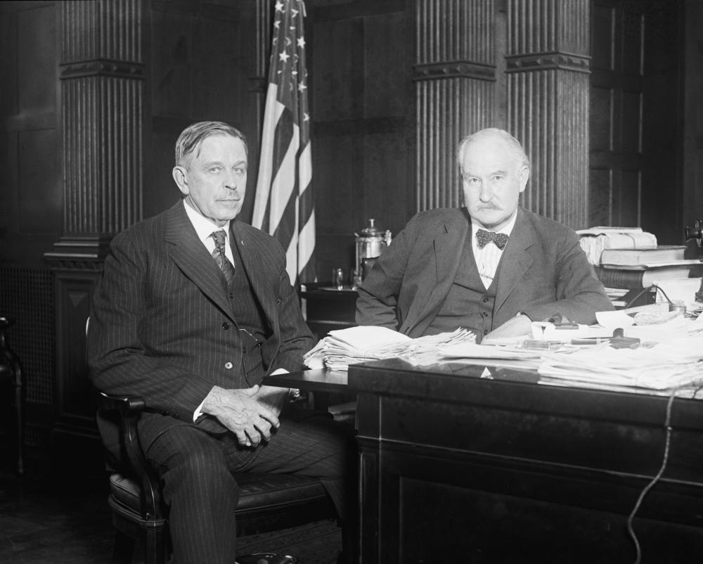 Albert Fall (right) during his tenure as Home Secretary.  Photo: Walmart