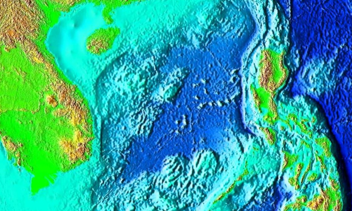 Địa hình đáy Biển Đông. Ảnh: NASA.