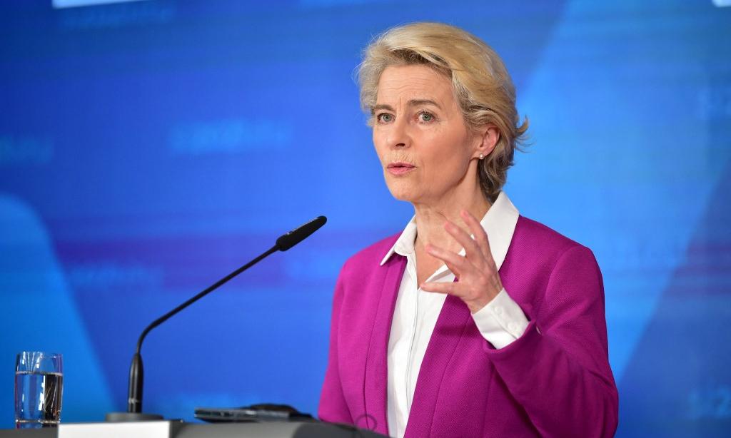 Chủ tịch Ủy ban châu Âu Ursula von der Leyen phát biểu tại cuộc họp báo gần Ljubljana, Slovenia, hôm 6/10. Ảnh: AFP.