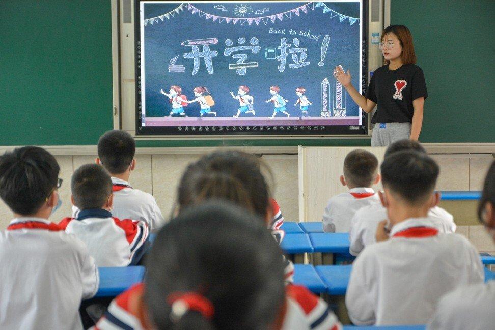 Một lớp học tại Hà Bắc, Trung Quốc, ngày 1/9. Ảnh: Getty Image