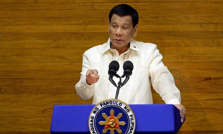 Tổng thống Philippines Rodrigo Duterte phát biểu trước Hạ viện hồi năm 2018. Ảnh: Reuters.