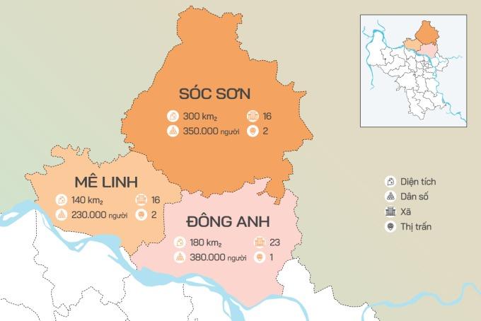 Quy mô 3 huyện phía Bắc được nghiên cứu là thành phố.