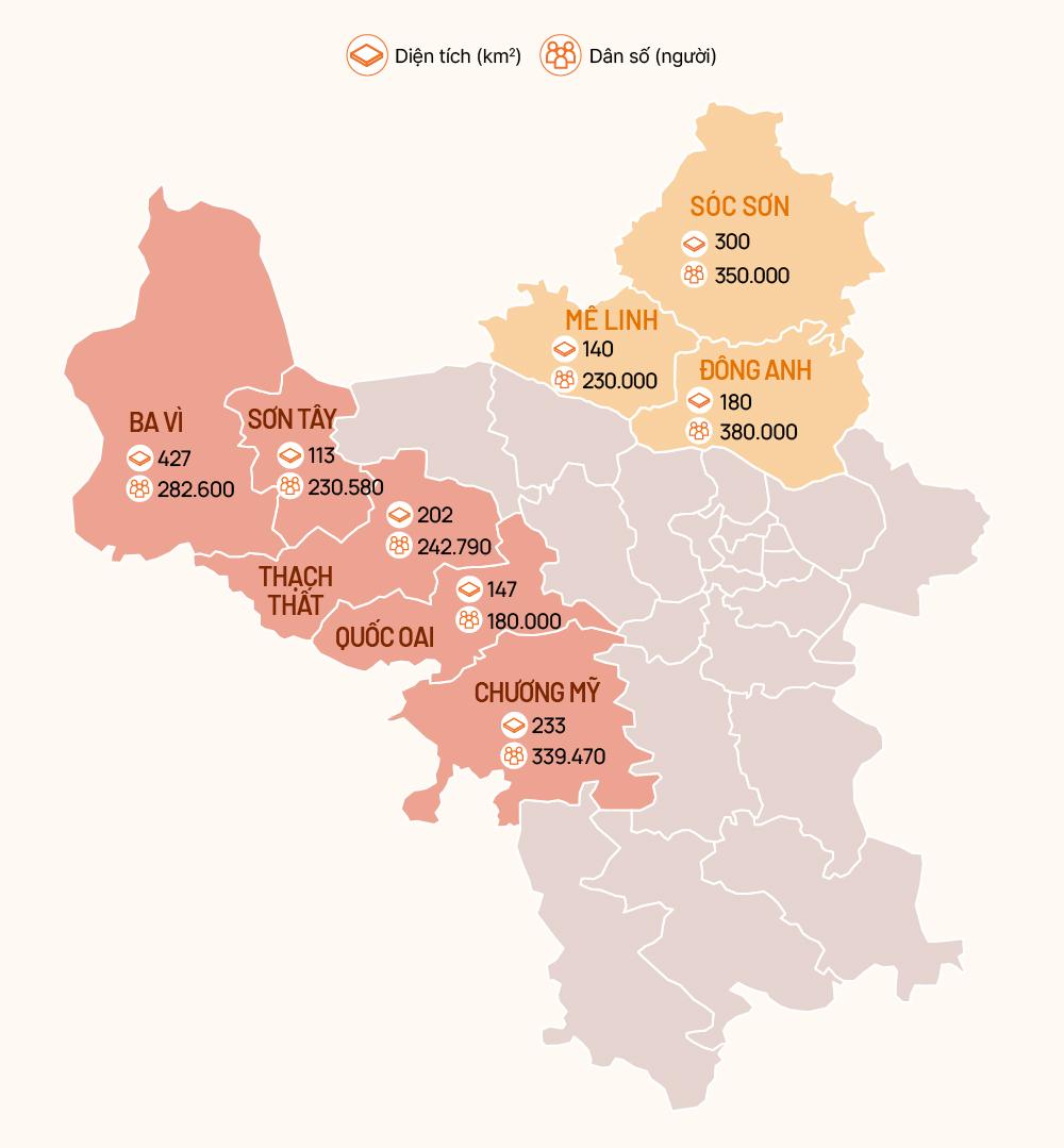 Vị ba huyện phía Bắc và các huyện phía Tây thủ đô được đề xuất quy quy hoạch lên thành phố. Đồ hoạ: Việt Chung